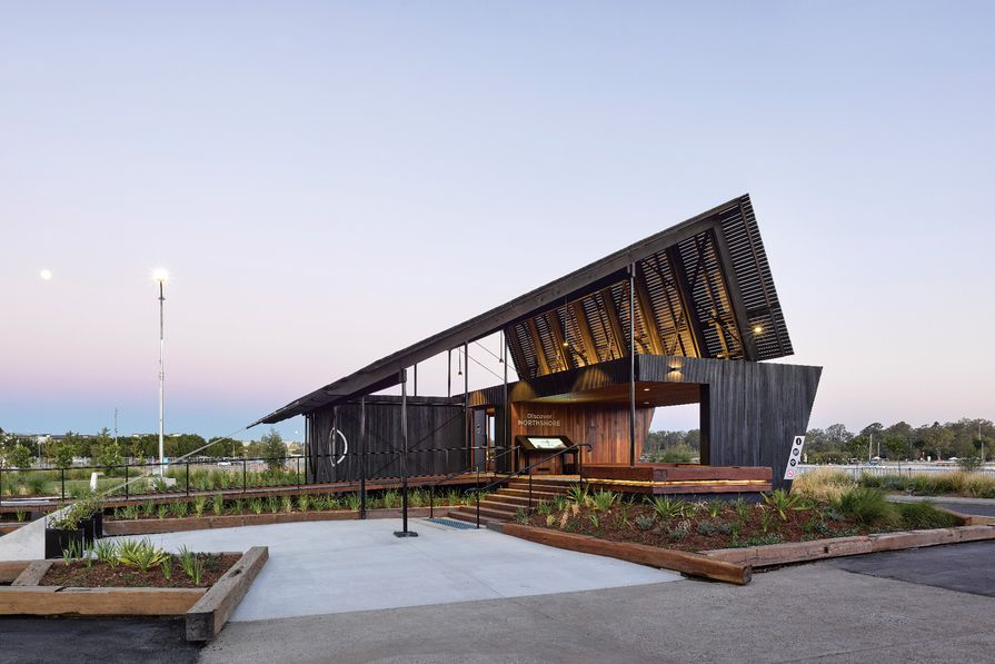 Northshore Pavilion was designed as an i nformation centre for the Hamilton Reach riverside development, but also doubles as an event space for the local community.