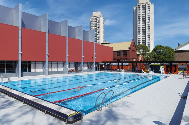 The outdoor pool, with its generous turf area, is a welcome antidote to the usual indoor pool environment.