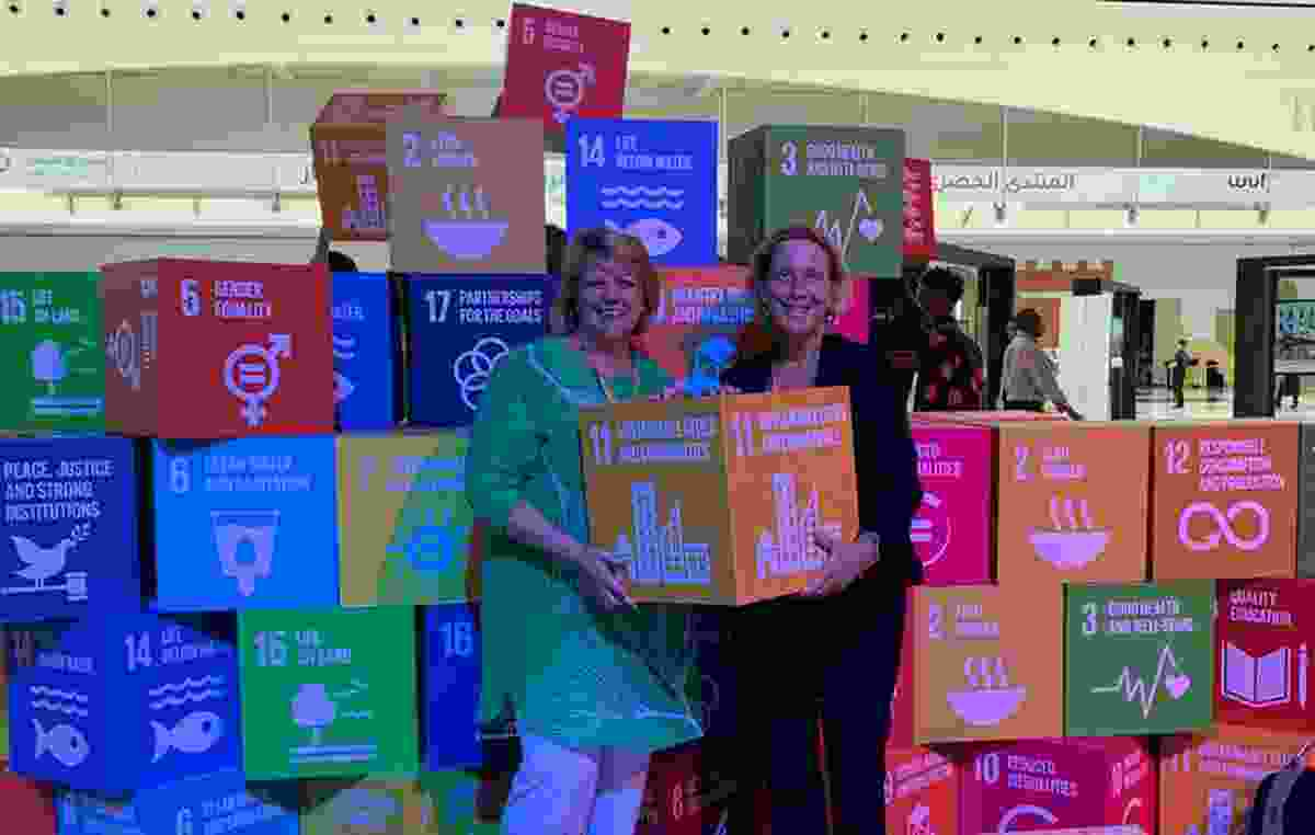 Leading Australian planner Dyan Currie with the author, Barbara Norman, and their pick of the SDGs in Abu Dhabi.