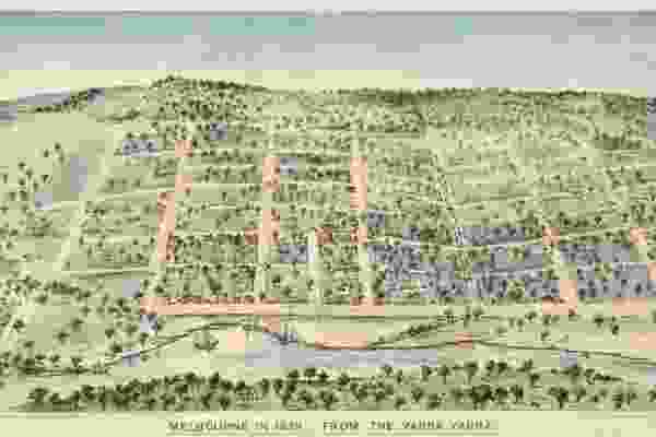 Melbourne in 1838, shaped by surveyor Robert Hoddle's grid design.