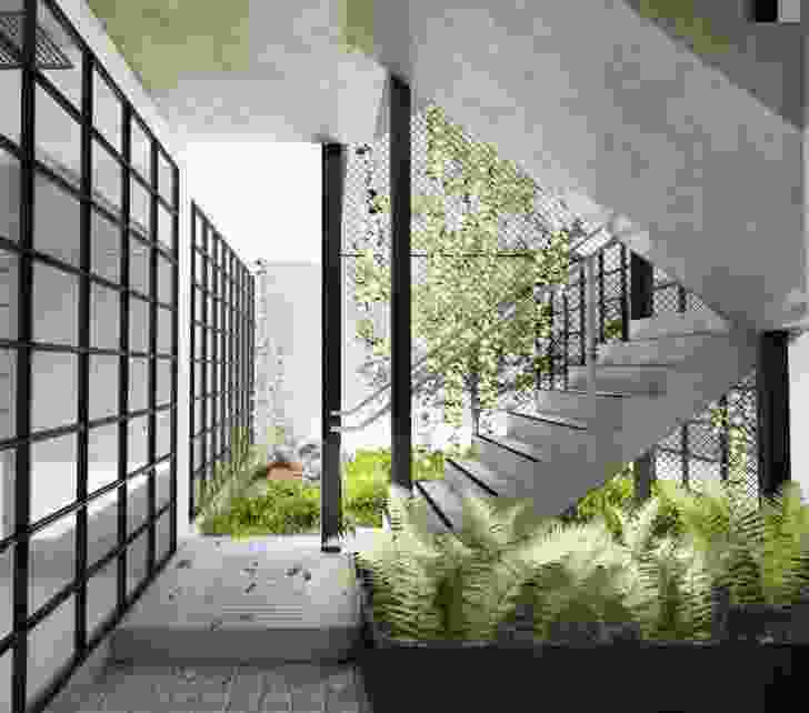 Courtyard of the proposed Nightingale apartment development in Brunswick designed by Breathe Architecture.