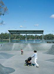 Skate park in Victoria Park Lake, designed by Aspect.