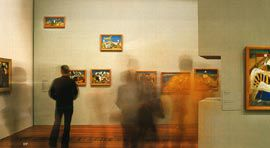 The twentieth century galleries on Level 2. The exhibited paintings are by Sidney Nolan, 1942-44. Image: Shannon Pawsey.