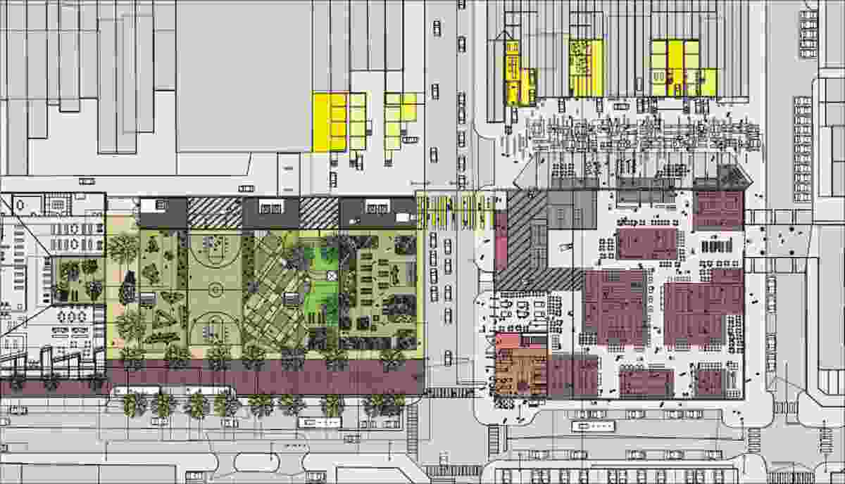 Ground plan – urban infill, civic gesture, elevated incubator buildings and parklands 1:3000.