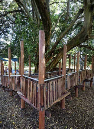 Custom timber construction provides the jungle aesthetic needed for the tree house.