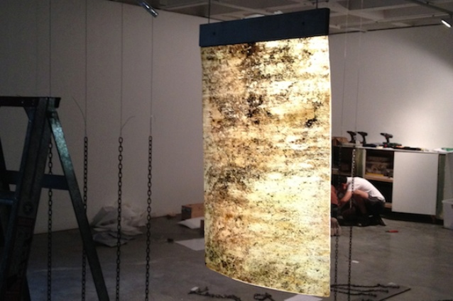 The Jorge Otero Pailos installation in progress.