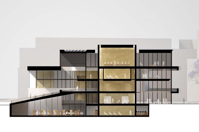 Kerry Hill Architects Scheme Section Through Civic Drum And Library