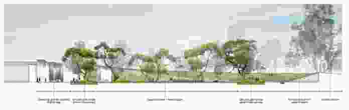 "Cross-section plan of the ""village green"" courtyard by Aspect Studios."