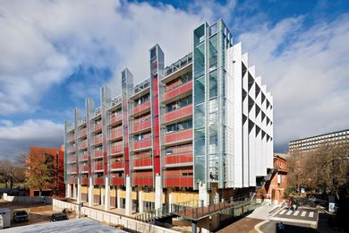 External colours and materials were chosen to make the building blend in with the predominantly red brick campus.