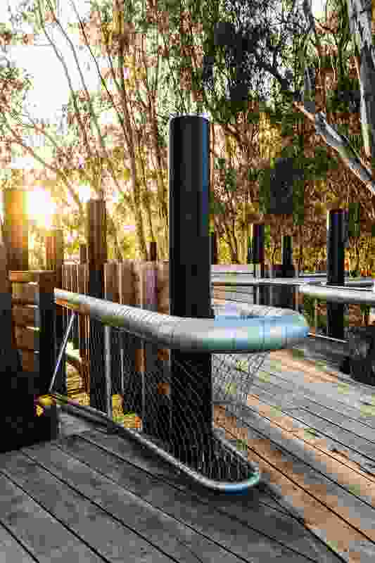 Locally sourced red gum timber was used to construct the main part of the wharf.