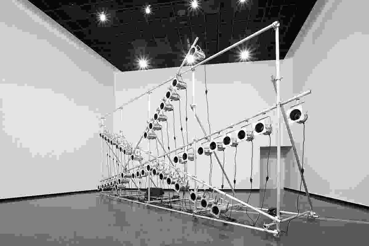 Marco Fusinato's, Aetheric Plexus (Broken X) sound & light installation.