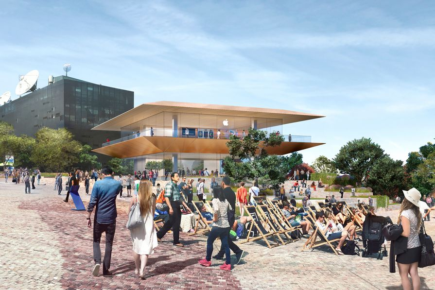 The proposed Apple Federations Square store by Foster and Partners.