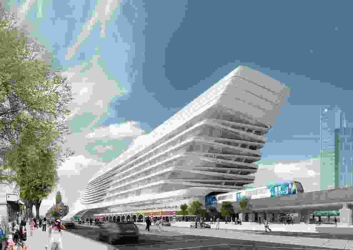 Zaha Hadid Architecture + BVN Donovan Hill: View from north-west.