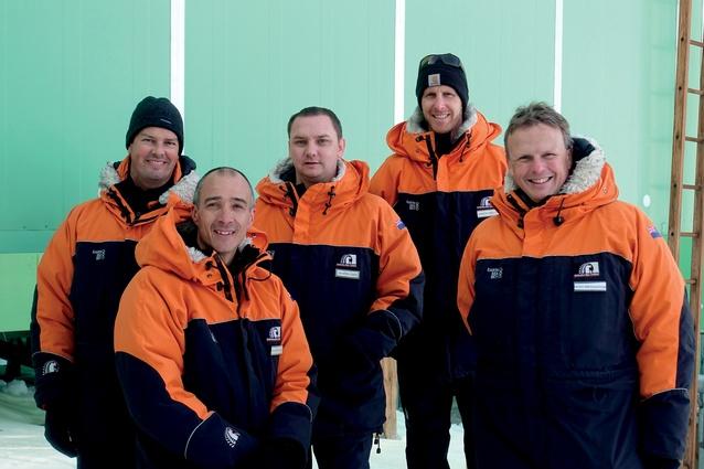 Members of the collaborative design team at Scott Base, Antarctica, from left to right: Jamie Lester (WSP Opus), Stephen Middleton (Jasmax), Martin Craig (Steensen Varming), Simon Shelton (Antarctica New Zealand) and Hugh Broughton (Hugh Broughton Architects).