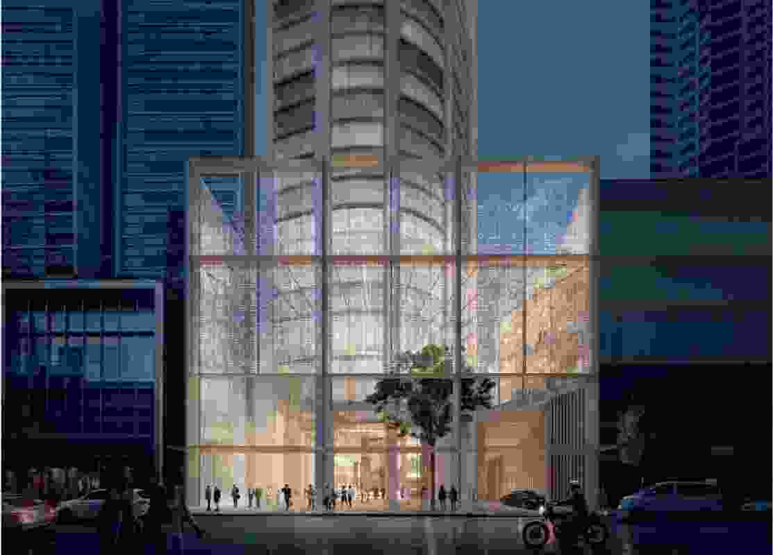 An indicative design for the 525-529 George Street tower by Candalepas Associates.