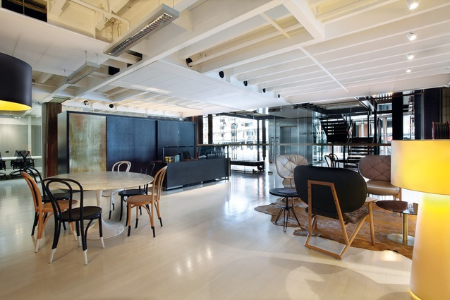 The reception area signals a comfortable and creative space.