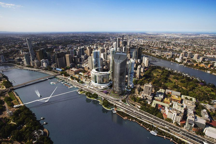 The initial design for the Neville Bonner Bridge by Grimshaw Architects as part of the Queen's Wharf development.
