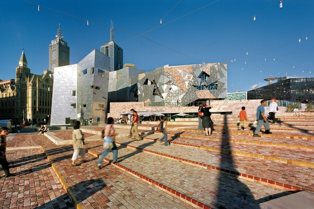 Federation Square (landscape) by Karres+Brands with Lab Architecture Studio and Bates Smart for Office of Major Projects, Melbourne, Victoria, 2002.