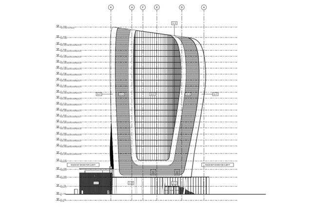 Eastern elevation of the new Ribbon proposal. A void has been carved into what was previously a continuous surface in the earlier design.