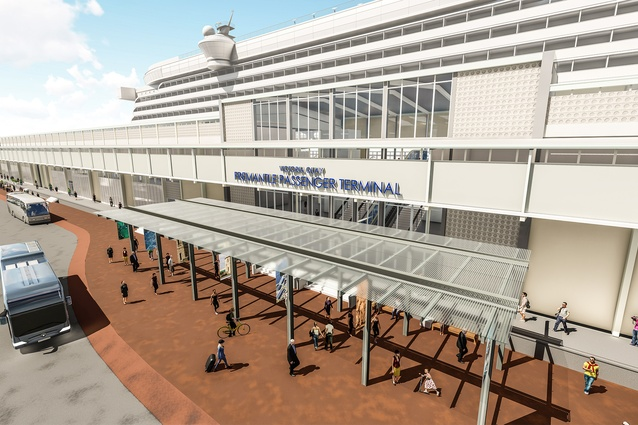 The new entrance canopy of Fremantle Passenger Terminal, designed by Cox Architecture.
