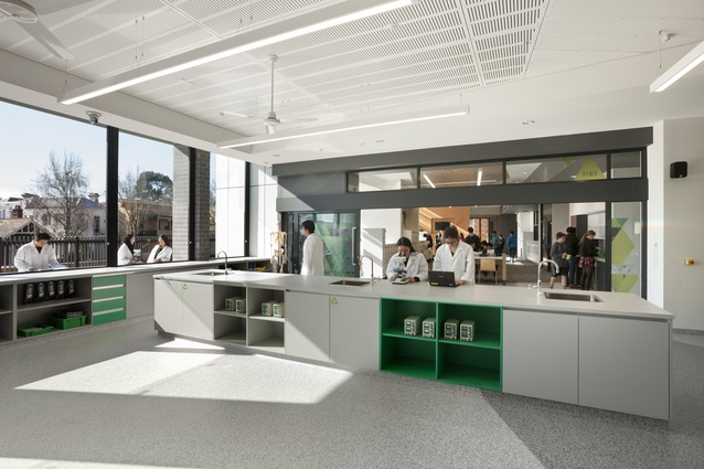 The 1400-square-metre facility by ClarkeHopkinsClarke was designed to accommodate year 11 and 12 students with an interest in science and mathematics.