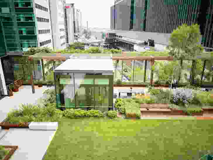 The park offers views over the city below; at its western end, a meeting pod can be booked by building tenants.