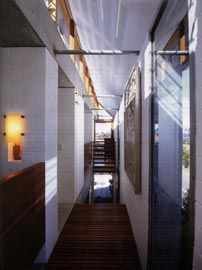 """Looking east along the upper level of the lightwell within the """"thickened"""" wall. Image: Patrick Bingham-Hall."""
