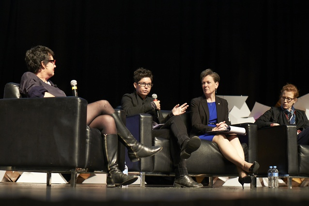 Parlour panel. L–R: Justine Clark, Naomi Stead, Helene Combs Dreiling (president of American Institute of Architects) and Emma Williamson.