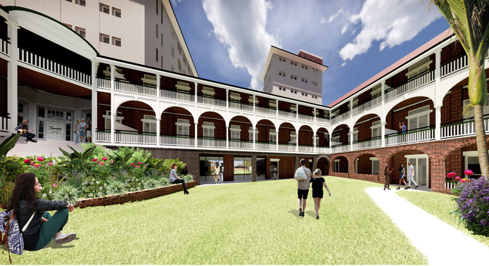 A rear courtyard view of the redeveloped Lady Lamington Nurses Home by Nettleton Tribe.
