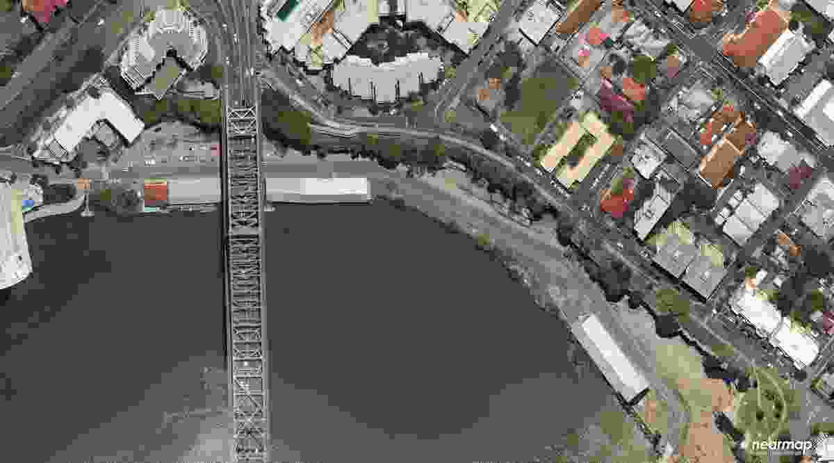 An aerial view of the Howard Smith Wharves site prior to the floods.