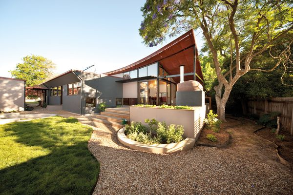 Main living spaces are oriented to the north to maximize solar access and connection with the surrounding landscape.
