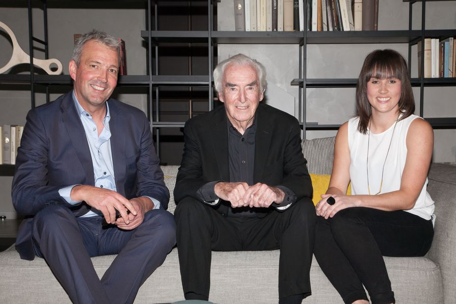Celebrating issue 100 of Houses in Melbourne (L–R): managing director of Rogerseller James Edmonds, guest speaker Peter McIntyre AO and Houses editor Katelin Butler.