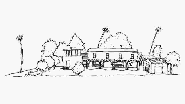 Sketch of 25th Street House from the south.