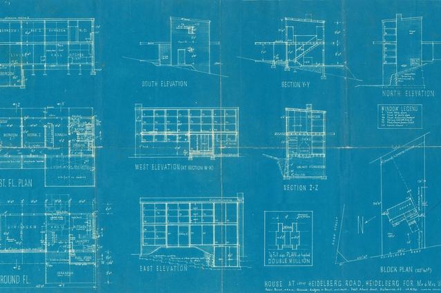 Original working drawings by Robin Boyd in 1953. Courtesy of the Robin Boyd Foundation.