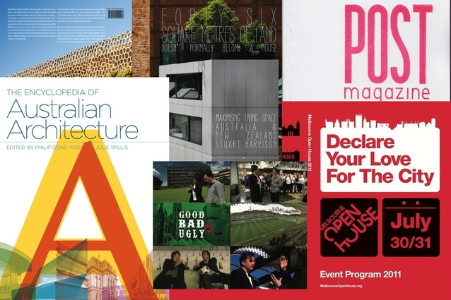 2012 winners (clockwise from top left): <em>Forty Six Square Metres</em>; <em>POST</em> magazine; Melbourne Open House; <em>Good, Bad or Ugly</em>; and