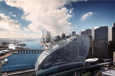 In addition to an IMAX cinema, the new proposal for the Ribbon by Hassell will house a hotel.