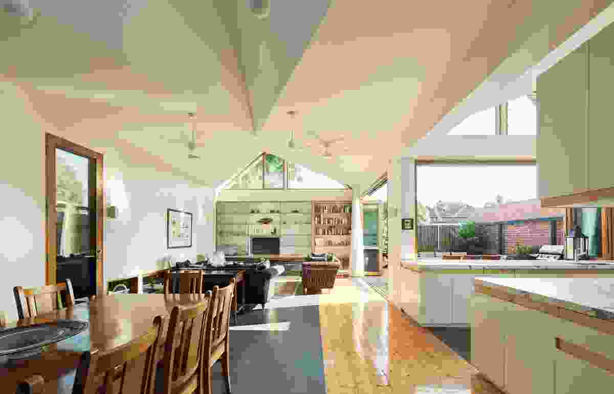 """A """"cathedral"""" ceiling defines and enlivens this rear extension by Mihaly Slocombe Architects."""
