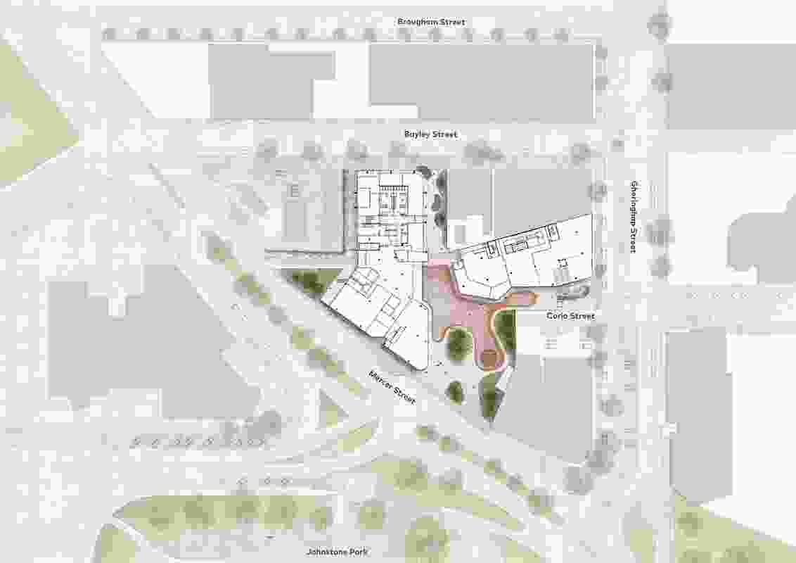 Site plan of the proposed Geelong Civic Precinct by Cox Architecture.