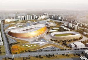 A render of a new stadium to be built in Addis Ababa, by design consortium LAVA, Designsport and JDAW.