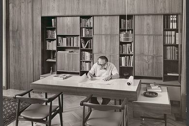 The House Talks Back: Fooks Exhibition and Open House. Pictured: Ernest Fooks in his study at 32 Howitt Road, 1967.