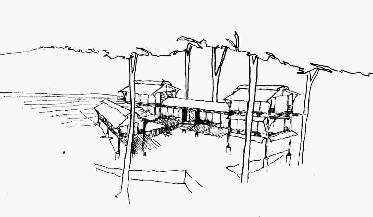 A concept sketch of the West Head House by Peter Stutchbury.