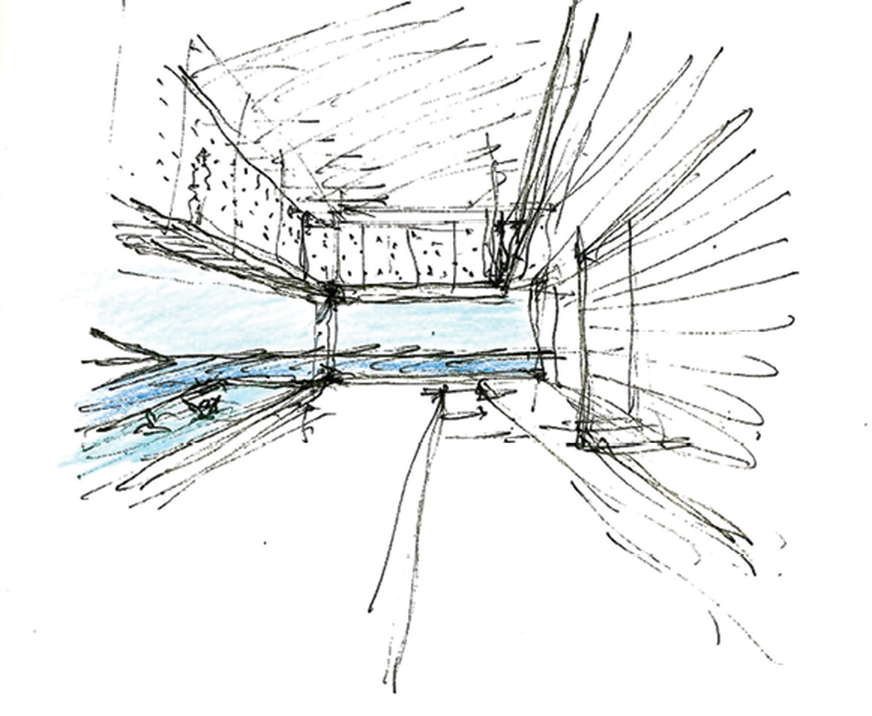 An early sketch of GB House depicts the concept for a space that frames seemingly endless views to the horizon and the sky.