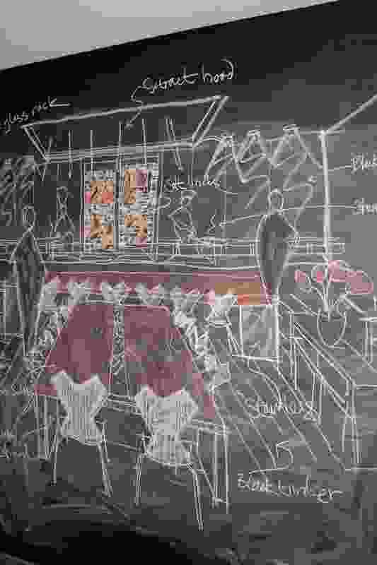 A blackboard sketch of the Hilton Brisbane Bar and Restaurant.