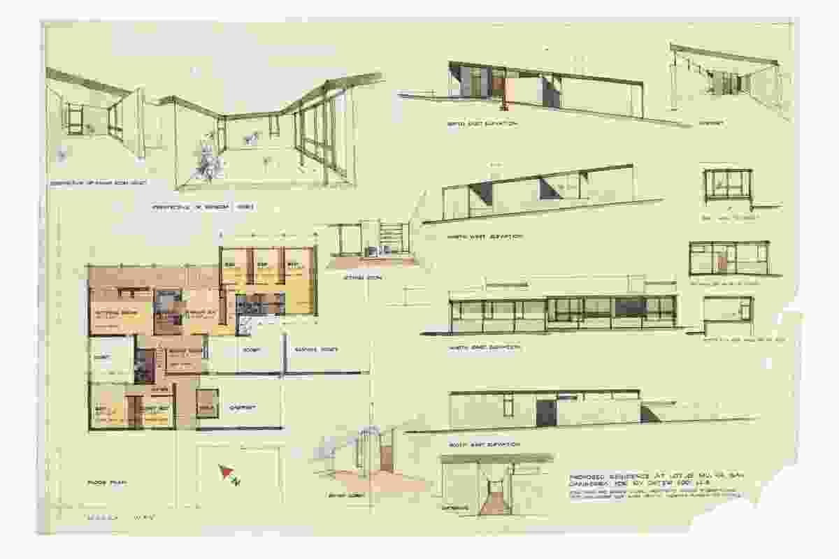 The original drawings of the Cater House, showing the careful orchestration of spatial sequencing.