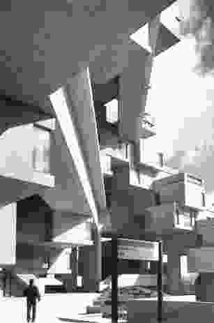 Section of Habitat '67 in Montreal, by Safdie Architects.