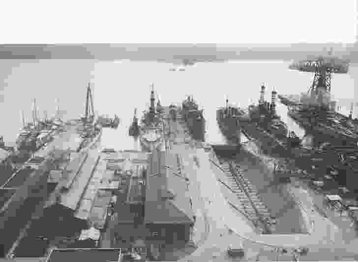 Historic photo of the dry dock in action.