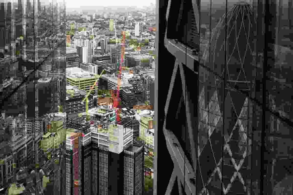 Construction in the city of London, viewed from the Leadenhall Building.