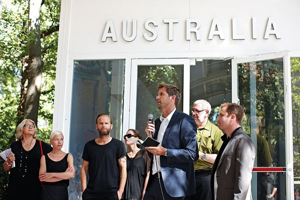 The opening of the 2012 Australian pavilion. From left to right: Janet Holmes à Court, Eva Dijkstra, Michael Lugmayr, Shelley Penn, Gerard Reinmuth, Geoffrey London and Anthony Burke.