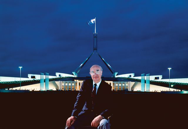 Romaldo Giurgola, pictured outside Parliament House in Canberra.