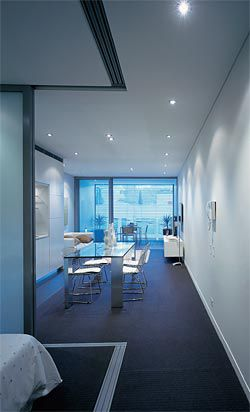 The apartment plan is opened up through the use of sliding screen walls.Image: Brett Boardman